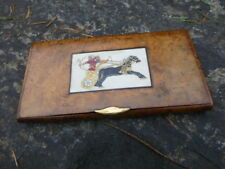 Antique Dunhill Bogwood cigarette case , Hand painted Insert and Gold tab c:1910