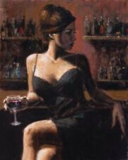 CHOP620 fashion lady drinking red wine bar hand painted oil painting canvas art