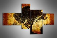"LARGE ABSTRACT TREE CANVAS WALL PICTURE SPLIT 4 PANELS FLASH ART 43"" 28"" 0661"