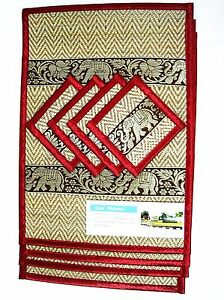 Mats DiningTable Coasters Placemat Thai Silk Reed Elephant Red Color New Set 4