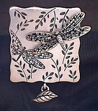 Vtg Signed Hmk Cds Dragonfly Brooch Pin Silver Tone Hallmark w/ Leaf Dangle