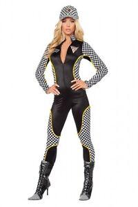 Racer Rennfahrer Kostüm Gr.36-38 M/L Overall Anzug schwarz Einteiler Boxenluder