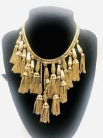 Vintage MONET Runway Bib Necklace Dangling Tassels Unique Slide Clasp Gold Tone