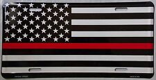 MADE IN USA - THIN RED LINE LICENSE PLATE - FIREMAN SUPPORT CAR TAG - MEMORIAL