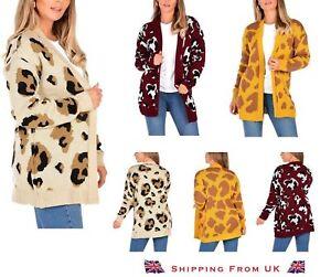 New Women's Ladies Animal Leopard Print Knitted Open Boyfriend Cardigan Jumper