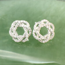 Silver Toned Circle Knot Earrings Made With Swarovski Crystal, Gift Box