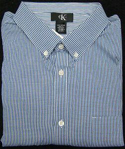 Calvin Klein Navy & White Checked Long Sleeve Dress Shirt - Size Medium