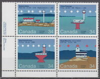 CANADA #1063-1066 34¢ Canadian Lighthouses LL Inscription Block MNH