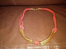 Handmade 17.5 Inch Pink Leather and Metal Collar
