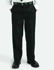 Boys Trousers FREE P&P Elastic Back Black Grey 3XL 4XL School Formal Belt Loose