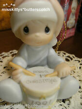 Precious Moments~ORNAMENT~Babys First Christmas~1991~boy playing a DRUM~527084