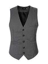 Men's Gilet Righe Verticali slim fit casual business matrimonio GRIGIO taglia L