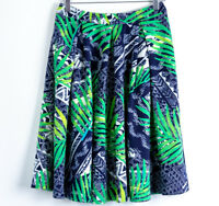 Saks Fifth Avenue Tropical print blue green white knee-length skirt Size S small