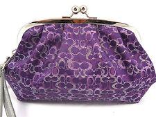 NWT Coach XL Purple Lurex Framed Kiss lock Evening Bag Coin Wristlet ID F 43349