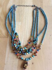 Turquoise Stone Chip Multi Strand Necklace