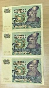 SWEDEN 5 KRONOR 3 CU NOTE COLLECTION ( Stock# 049)
