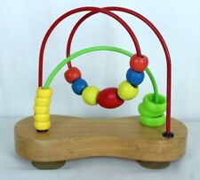 """Wooden Toys Baby Infant Math Learning Mini Beads Wire Maze Educational 8.5 x 7"""""""