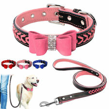 Braided Leather Dog Collars & Leash Set Bowknot Soft Padded Durable Collar XS-L