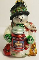 Mercury Glass Yankee Candle Snowman Christmas Ornament 5 Inches Tall