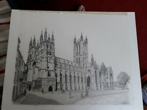ORIGINAL PENCIL DRAWING OF CANTERBURY CATHEDRAL BY F.C.WOODINGTON. 1974