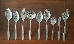 9 SSS BY ONEIDA OUR ROSE Stainless Serving Pieces VG+ Condition