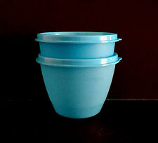 Tupperware Set Of 2 Snack Fruit Lunch Storage Cups Container Blue with Seal