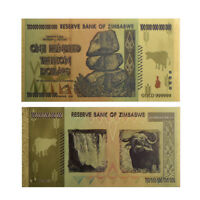 Zimbabwe 100 Trillion Banknote Gold Bill World Money Value Collection Paper New