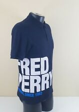 Fred Perry Men Short Sleeve Solid Black Big Print Cotton Polo T-Shirt Size M