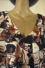 BNWT SAVOIR BLACK & BROWN JEWEL EMBELLISHED NECK DRESS / TOP, UK +Sz 30, RRP £45