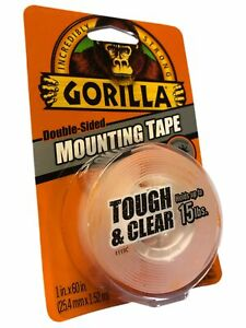 """Gorilla Mounting Tape double Sided Tape 1"""" x 60""""  in Clear"""
