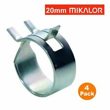 4 x 20mm Mikalor W1 Self Clamping Spring Hose Clips Silicone Pipe Air Fuel Band
