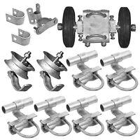 Chain Link Rolling Gate Fence Hardware Kit Set Double Wheel Track Brackets Latch
