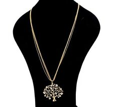 18K Yellow Gold Plated Tree Of Life Crystal Pendant Long Chain Luxury Necklace