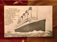 TITANIC POSTCARD JULY 24, 1912 POSTMARK STAMP WHITE STAR LINE MARITIME DISASTER