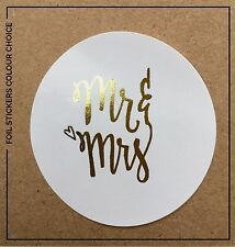 Mr & Mrs Gold, Silver or Rose Gold foil glossy Wedding Sticker Labels x 24
