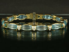 Hochwertiges Aquamarin Brillant Armband ca. 43ct   45,6g 750/- Gelbgold