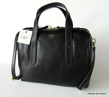 "RETIRED FOSSIL SYDNEY LEATHER SATCHEL OR SHOULDER BAG ""BLACK"" ~ NWT!!!"