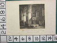 1815 Datierter Antik Aufdruck ~ Interior Von Godmanham Kirche ~ Yorkshire