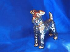 Vintage metal gold Airedale Wire haired fox terrier male dog Irish terrier *