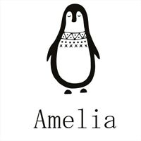 Penguin Wall Stickers Personalised Name Girls Boys Art Decals Removable Room