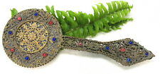 LOVELY FRENCH LADIES JEWELED FILIGREE HAND MIRROR ( FRANCE )