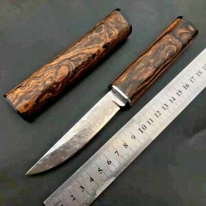 Straightback Knife Japanese Hunting Tactical Combat Hand Forged Damascus Steel S
