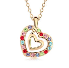 18K Rose Gold Plated Made with Swarovski Elements Double Heart Multi Necklace