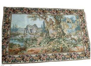"vintage wall hanging tapestry french 60""x37"" with rod pocket cherubs pastoral"