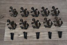Vintage ANCHER cast iron cabinet drawer door knobs handles pull rustic 10 pcs