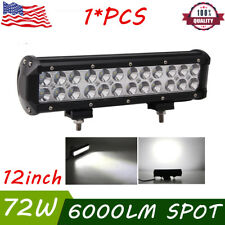 12INCH 72W CREE LED Work Light Bar Spot Beam Offroad Pickup Driving UTE Truck