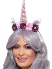 Unicorn Headband Ladies Fancy Dress Accessory Pretty Unicorn Horn & Flowers