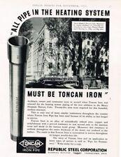 1932 Republic Steel Co.Toncan Iron Pipe Mercy Hospital Denver Vtg Print Ad