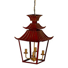 "Pagoda-Inspired Metal Chandelier 16""x16""x26.5"" - FD42168"