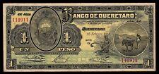 El Banco de Queretaro 1 Peso 15-FEB-1914 Series 2, M481/BK-QUE-1. Fine+